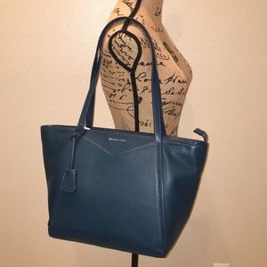 NWT Michael Kors Whitney Large Leather Tote-Teal